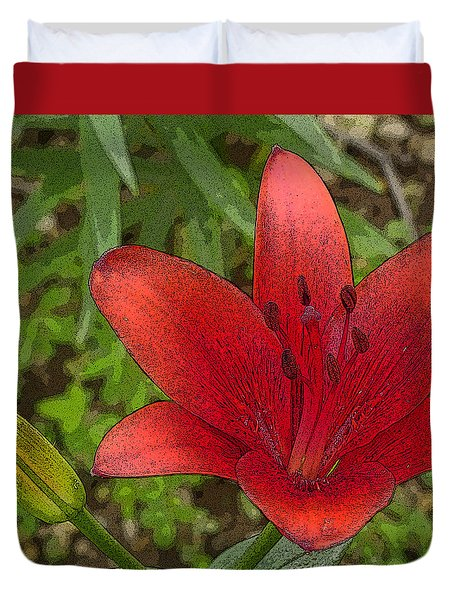 Hazelle's Red Lily Duvet Cover by Jana Russon