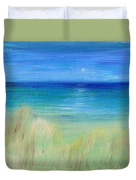 Hazy Beach Mini Oil On Masonite Duvet Cover by Regina Valluzzi