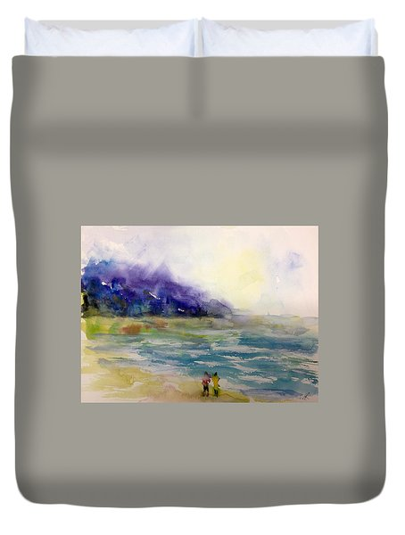 Hazy Beach Scene Duvet Cover