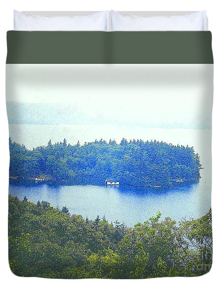 Hazy Day At Lake George Ny Duvet Cover by Merton Allen