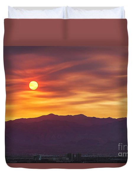 Hazy Las Vegas Sunset Duvet Cover
