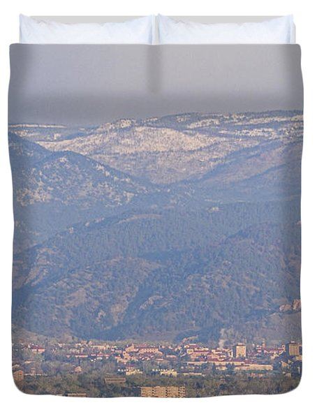 Hazy Low Cloud Morning Boulder Colorado University Scenic View  Duvet Cover by James BO  Insogna