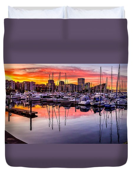 Hdr Sunset On Thea Foss Waterway Duvet Cover