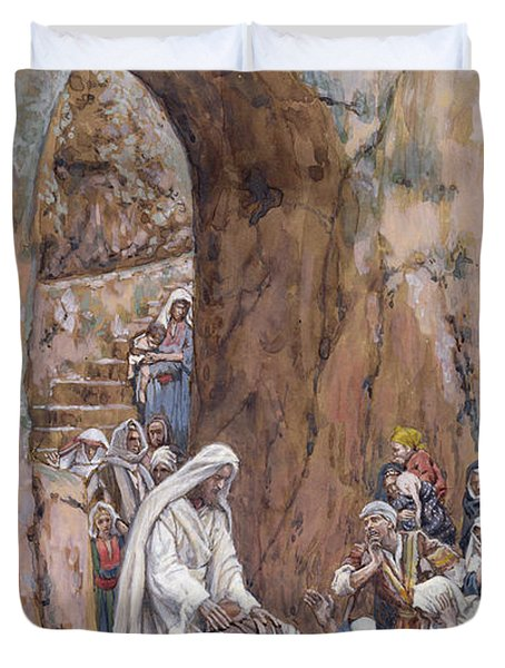 He Did No Miracles Save That He Healed Them Duvet Cover by Tissot
