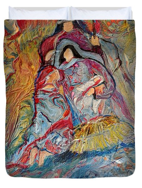 Duvet Cover featuring the painting He Dwelt Among Us by Deborah Nell