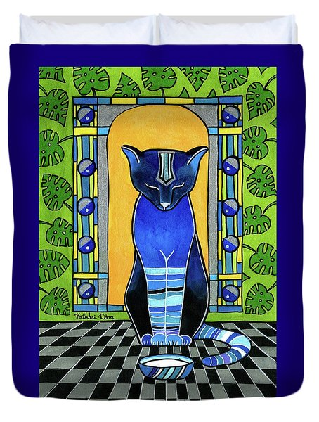 Duvet Cover featuring the painting He Is Back - Blue Cat Art by Dora Hathazi Mendes