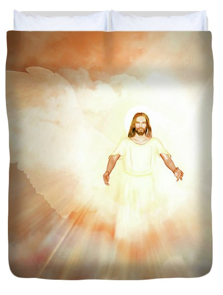Duvet Cover featuring the painting  He Is Risen by Valerie Anne Kelly
