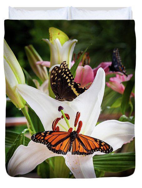 Duvet Cover featuring the photograph He Still Gives Me Butterflies by Karen Wiles