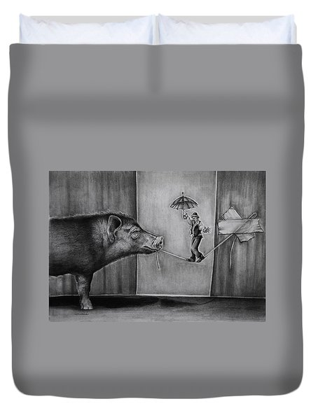 He Was Reaching The End Of His Rope Duvet Cover by Jean Cormier