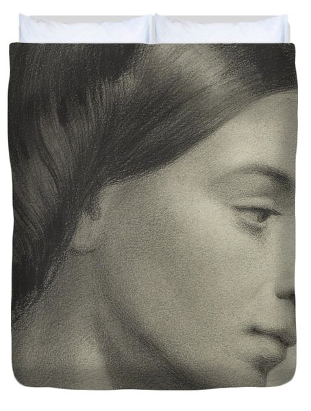 Head Of A Girl Duvet Cover by Anonymous