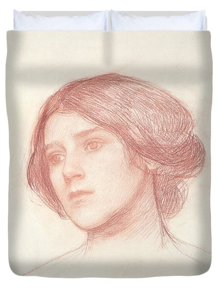 Head Of A Girl Duvet Cover by John William Waterhouse