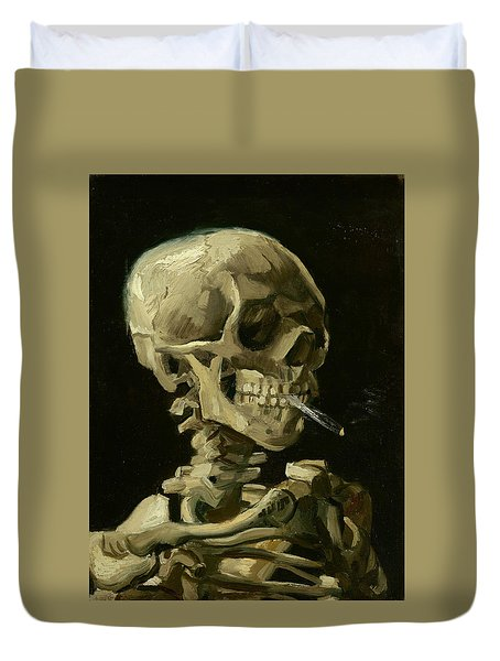 Head Of A Skeleton With A Burning Cigarette Duvet Cover