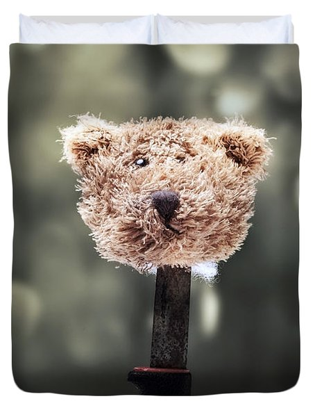 Head Of A Teddy Duvet Cover by Joana Kruse
