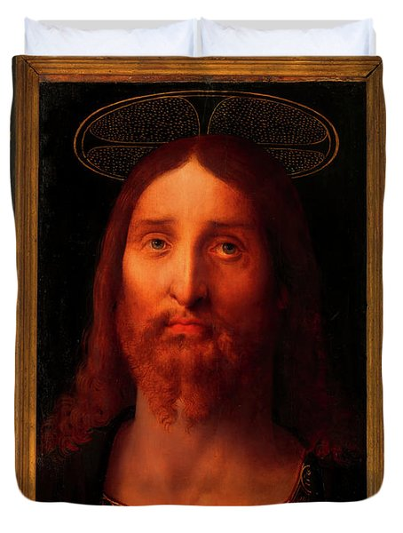 Duvet Cover featuring the painting Head Of Christ                                   by Fernando De La Almedina