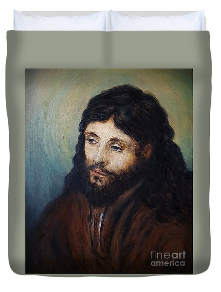 Head Of Christ After Rembrandt Duvet Cover