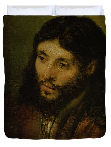 Head Of Christ Duvet Cover by Rembrandt