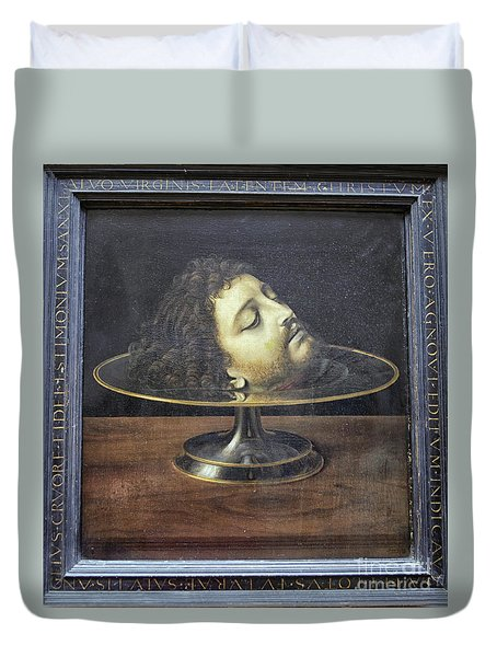 Duvet Cover featuring the photograph Head Of John The Baptist, 1507, With Frame And Inscription -- By by Patricia Hofmeester