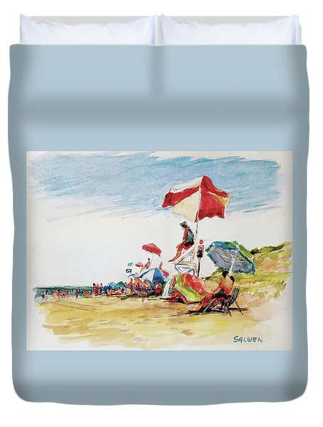 Head  Of The Meadow Beach, Afternoon Duvet Cover by Peter Salwen