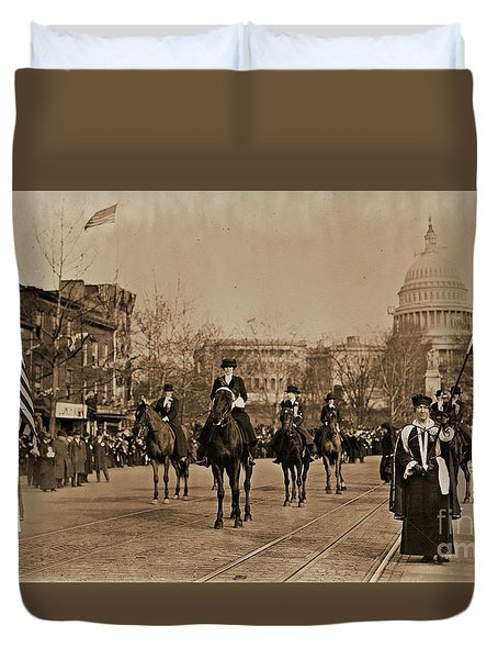 Head Of Washington D.c. Suffrage Parade Duvet Cover by Padre Art