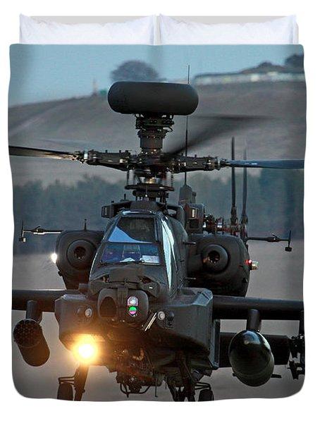 Head On Ah64 Apache Duvet Cover by Ken Brannen