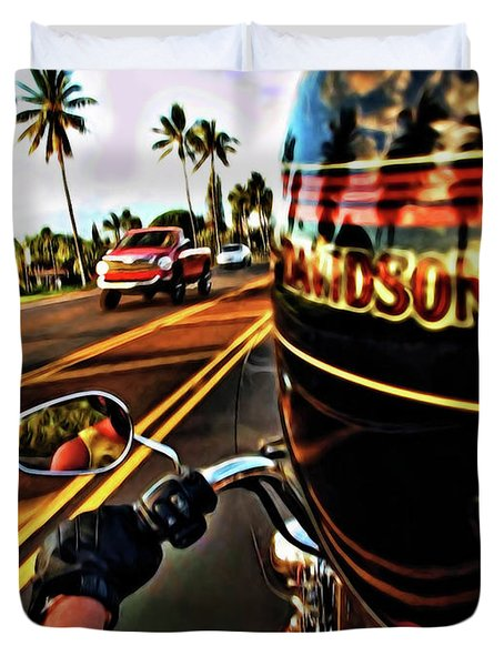 Heading Out On Harley Duvet Cover