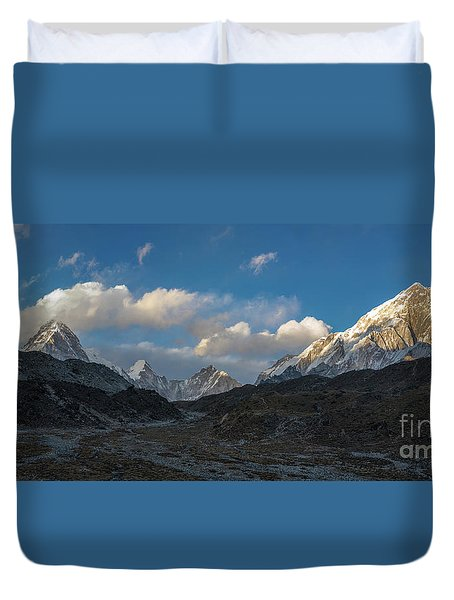 Duvet Cover featuring the photograph Heading To Everest Base Camp by Mike Reid