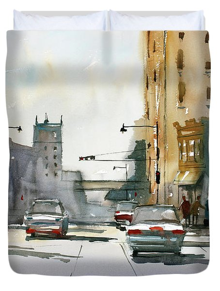 Heading West On College Avenue - Appleton Duvet Cover by Ryan Radke