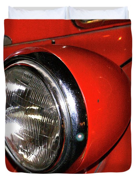 Headlamp On Red Firetruck Duvet Cover by Douglas Barnett