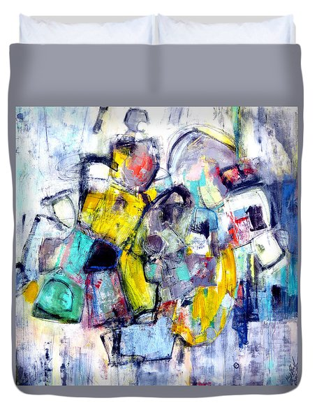 Duvet Cover featuring the painting Heads Up by Katie Black