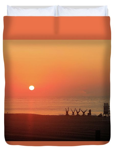 Duvet Cover featuring the photograph Headstand Fun At Sunrise by Robert Banach