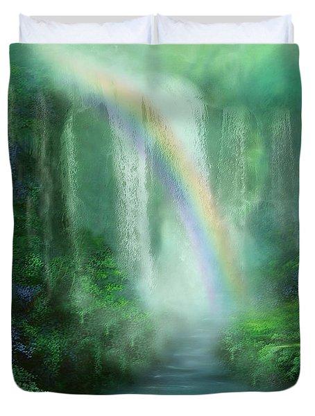 Healing Grotto Duvet Cover by Carol Cavalaris