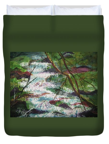 Duvet Cover featuring the painting Healing Waters by Ellen Levinson
