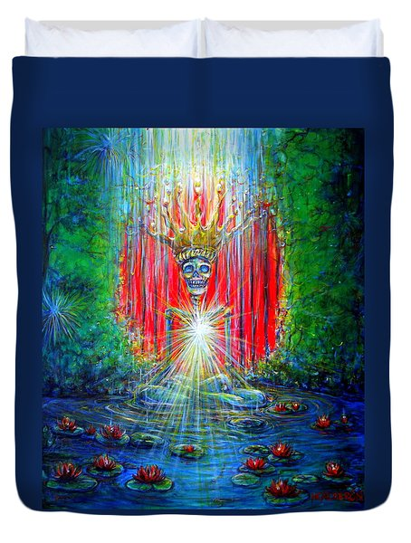 Duvet Cover featuring the painting Healing Waters by Heather Calderon