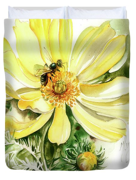 Duvet Cover featuring the painting Healing Your Heart by Anna Ewa Miarczynska
