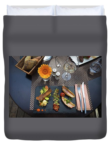Duvet Cover featuring the photograph Health Fish Dish Served At A French Restaurant by Semmick Photo