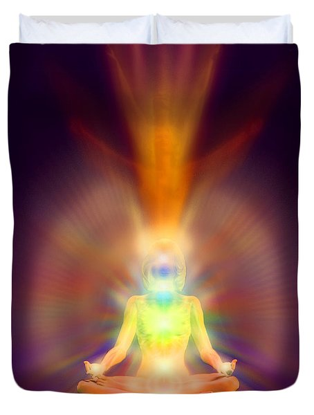 Duvet Cover featuring the painting Healthy Aura by Robby Donaghey