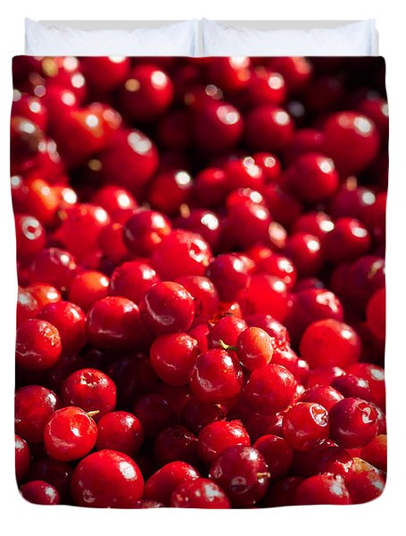 Healthy Pile Of Lingonberries Duvet Cover