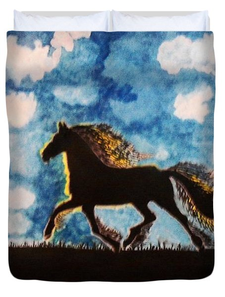 Hearing Thunder Duvet Cover by Connie Valasco