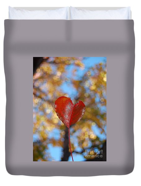 Duvet Cover featuring the photograph Heart Amongst Tree Top by Debra Thompson