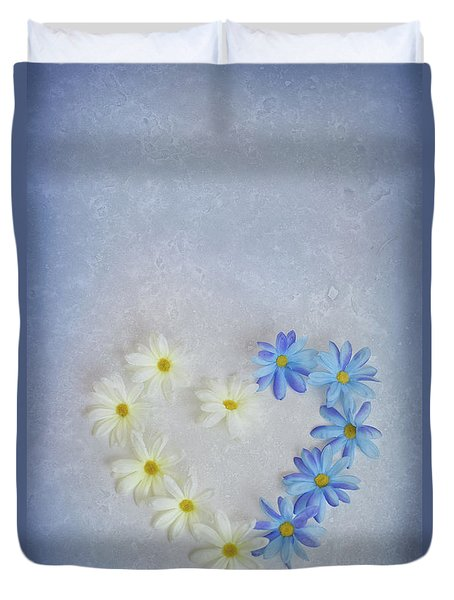 Heart And Flowers Duvet Cover