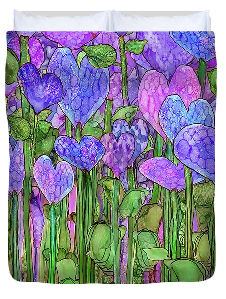 Duvet Cover featuring the mixed media Heart Bloomies 1 - Purple by Carol Cavalaris