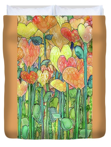 Duvet Cover featuring the mixed media Heart Bloomies 2 - Golden by Carol Cavalaris