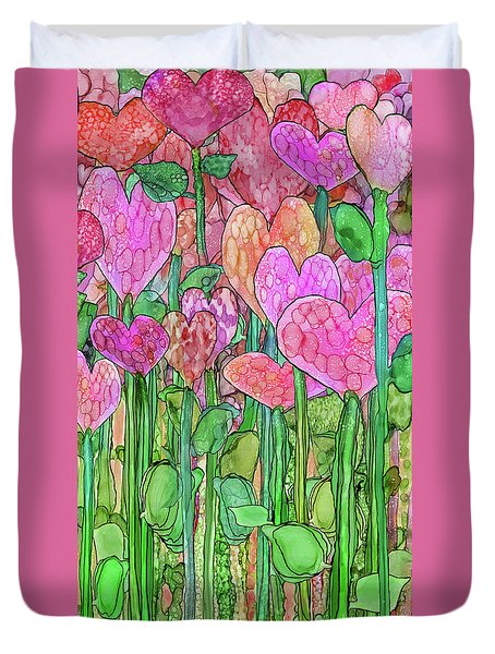 Duvet Cover featuring the mixed media Heart Bloomies 2 - Pink And Red by Carol Cavalaris