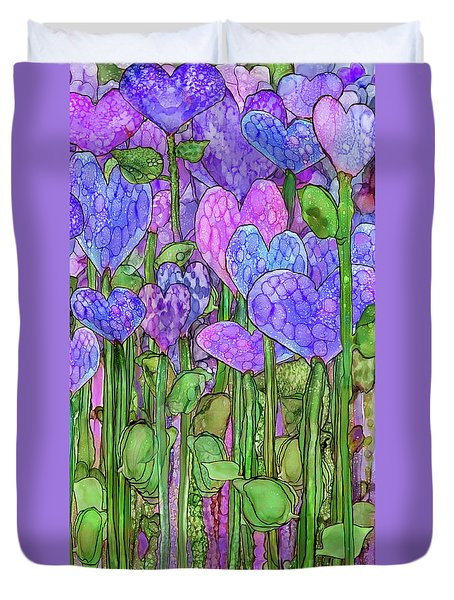 Duvet Cover featuring the mixed media Heart Bloomies 2 - Purple by Carol Cavalaris