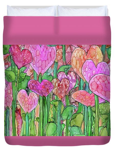 Duvet Cover featuring the mixed media Heart Bloomies 3 - Pink And Red by Carol Cavalaris