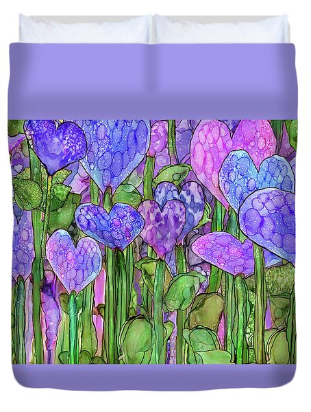 Duvet Cover featuring the mixed media Heart Bloomies 3 - Purple by Carol Cavalaris