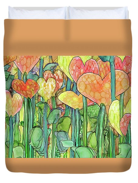 Duvet Cover featuring the mixed media Heart Bloomies 4 - Golden by Carol Cavalaris