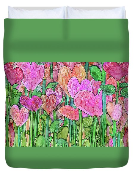 Duvet Cover featuring the mixed media Heart Bloomies 4 - Pink And Red by Carol Cavalaris