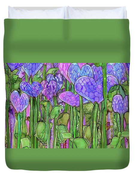 Duvet Cover featuring the mixed media Heart Bloomies 4 - Purple by Carol Cavalaris