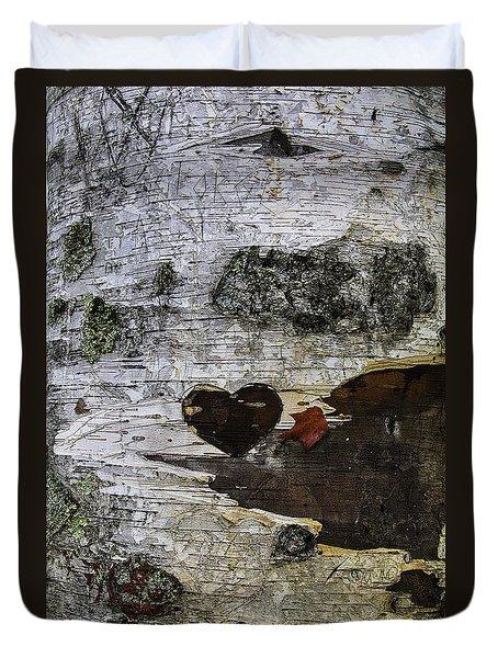 Heart Carved In Tree Duvet Cover